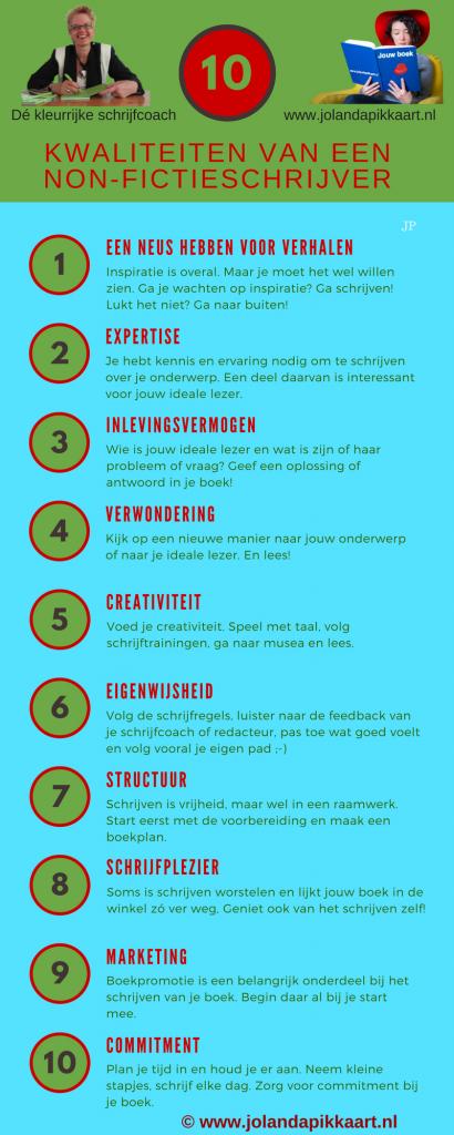 10 Kwaliteiten van een non-fictieschrijver infographic JP