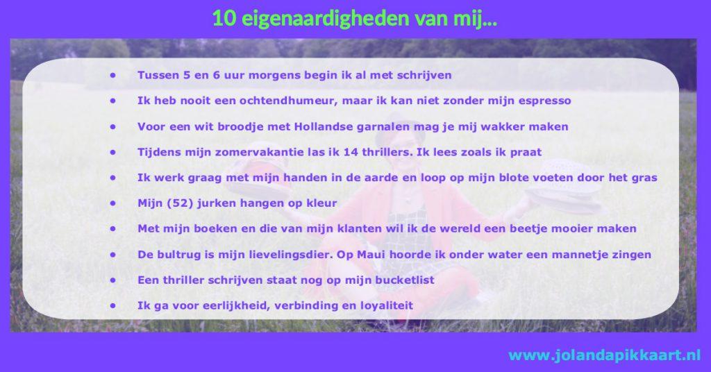 10 eigenaardigheden van Jolanda Pikkaart